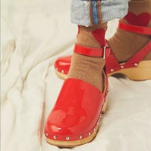 Free People Unalira Kaia Clog Red Patent Leather